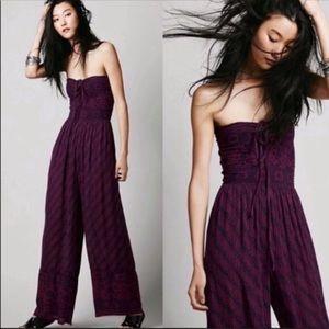 Free People Womens Purple Wide Leg Jumpsuit Size S